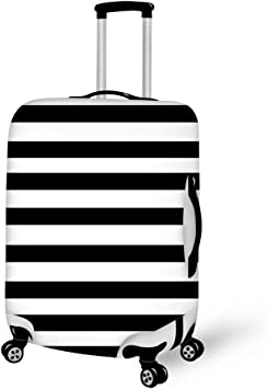 Travel Luggage Cover Black And White Stripes Suitcase Protector