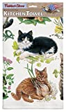 Mixed Kittens Dish Towels Set of 2, Kitchen Towels With Hanging Loop, 100% Cotton Dish Towels, Gift For Cat Lovers