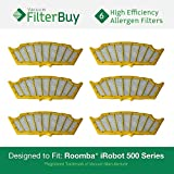 6 - iRobot Roomba 500 Replacement Filters. Designed by FilterBuy to Replace All iRobot 81501 & Roomba 500 Series Vacuum Filters
