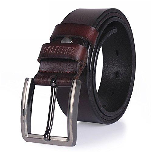 cowhide belts for men male pin buckle jeans cowboy Mens Belts Leather belt Brown 115cm