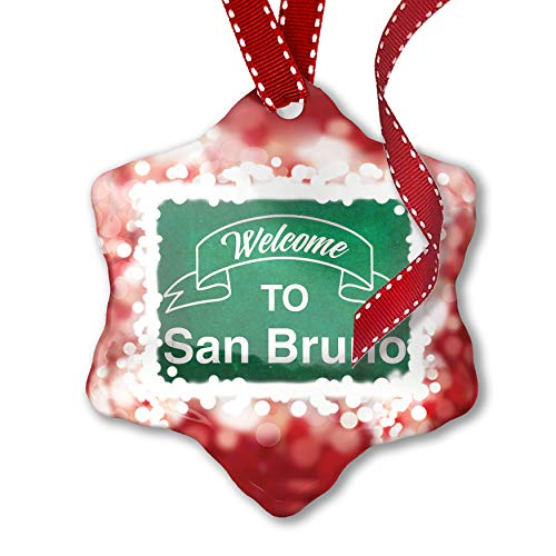 NEONBLOND Christmas Ornament Green Sign Welcome to San Bruno, ()