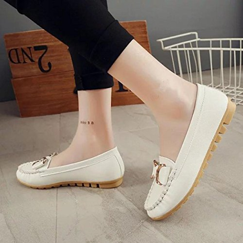Transer Soft Ladies Leisure Flats Shoes, Women Breathable Slip on Casual Work Loafers,Comfortable Leather Lazy Shoes White