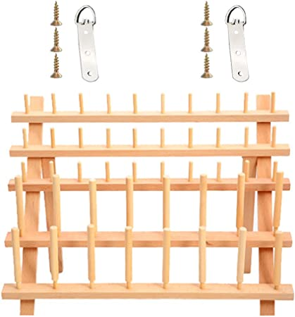 46 Spools Wooden Thread Rack Thread Holder Organizer with Hanging Hooks for Embroidery Quilting and Sewing Threads