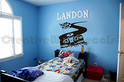 CreativeWallDecals Vinyl Wall Decal Sticker Formula 1 Super Car Kids Race Track Bedroom R1739 ()