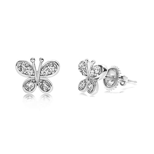6122220bd Amazon.com: Chanteur Crystal Butterfly Kids Baby Girl Earrings with  Swarovski Elements (Clear Butterfly Screwback Kids Baby Girl Earrings):  Jewelry