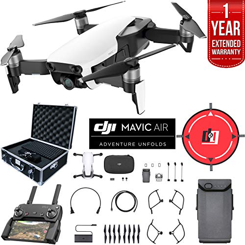 Price comparison product image DJI Mavic Air Drone Combo 4K Wi-Fi Quadcopter with Remote Controller Deluxe Bundle with Hard Case,  Dual Battery,  Landing Pad and 1 Year Warranty Extension (Arctic White)