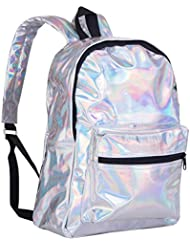 Mogor Girls Sliver Holographic Laser Leather School Backpack Travel Casual Daypack