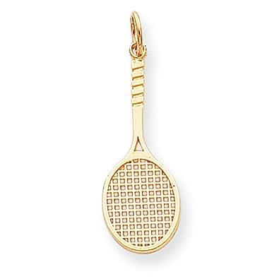 Amazon 10k yellow gold tennis racquet charm pendant jewelry 10k yellow gold tennis racquet charm pendant aloadofball Images
