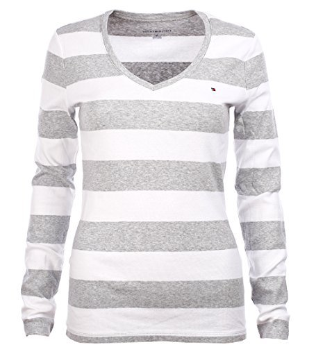 a7466f39 Tommy Hilfiger Women's Wide Stripes Long Sleeve V-Neck T-Shirt (XS,  Grey/White) - Buy Online in Oman. | Apparel Products in Oman - See Prices,  ...