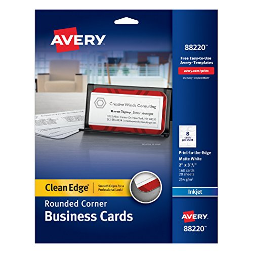 Avery Two-Side Printable Clean Edge Rounded Corner Business Cards for Inkjet Printers, White, Pack of 160 (88220) (Round Edge Business Cards compare prices)