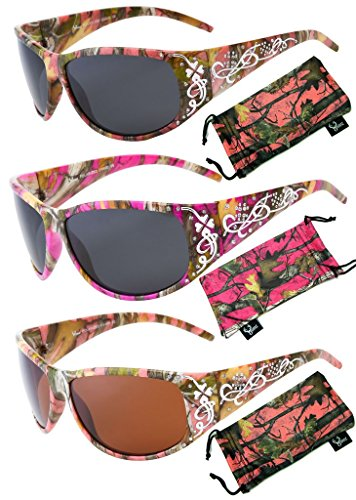 - Hornz Hot Pink-Purple Camouflage Polarized Sunglasses Country Girl Style Camo & Free Matching Microfiber Pouch - 3 Pack