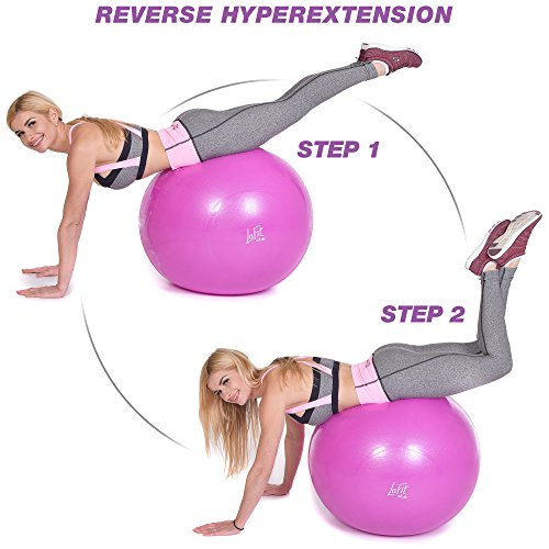 LAFIT CLUB 65 cm Pink Exercise Ball - Yoga Ball with Pump - Gym Ball for Yoga - Stability Swiss Sitting Fit Ball - Ball for Workout and Gym by LAFIT CLUB (Image #3)