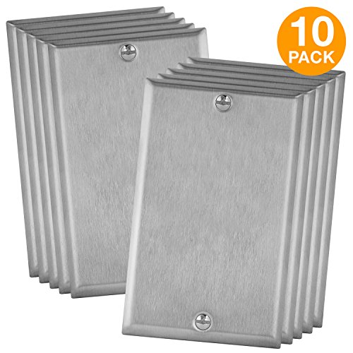 (ENERLITES Blank Device Cover Wall Plate, Standard Size 1-Gang, Stainless Steel 430 Gauge Alloy, (10 Pack) 7701-10PCS)