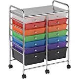 14 Pull Out Translucent Multi Colour Drawers Steel Frame Mobile Organizer