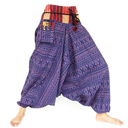 Haremshose, Aladinhose, Pluderhose, Hmong Style, Handarbeit, violett