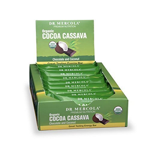 Dr. Mercola, Organic Cocoa Cassava wtih Coconut & chia Seeds, 1 Box (12 Bars), Chocolate-Coated Gourmet Snack Bar, Non GMO, Soy-Free, Gluten Free, USDA Organic (Chia Seeds And Coconut Oil For Energy)