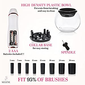 Pro Makeup Brush Cleaner & Dryer Kit - The Best Professional Makeup Brush Cleaning Tool: Washing and Drying All Cosmetic Make Up Brushes in 30 Seconds - Natural Cleaning Solution - By Selene