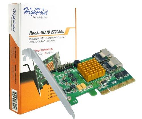HighPoint RocketRAID 2720SGL 8-Port SAS 6Gb/s PCIe 2.0 x8 RAID HBA by High Point