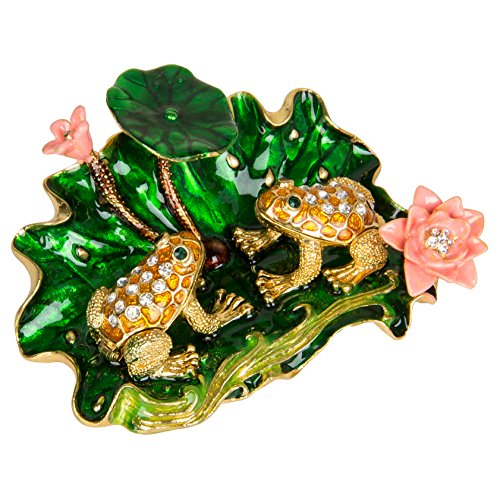 QIFU-Hand Painted Enameled Frog with Lotus Decorative Hinged Jewelry Trinket Box Unique Gift for Home Decor