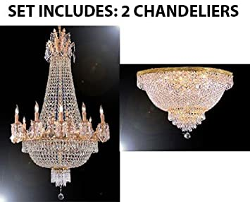 SET OF 2 - 1 French Empire Crystal Semi Flush Chandelier Lighting ...