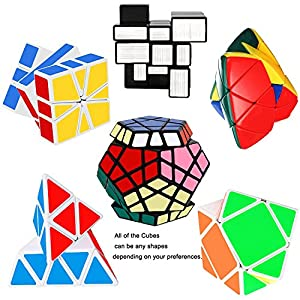 Tresbro Rubix Speed Cube Set,Brain Teasers Magic Speedcubing Bundle of 6 Pack Megaminx,Pyraminx,Mastermorphix,Skewb,SQ-1,Mirror Cube Puzzle Toys for Kids,Teens and Adults