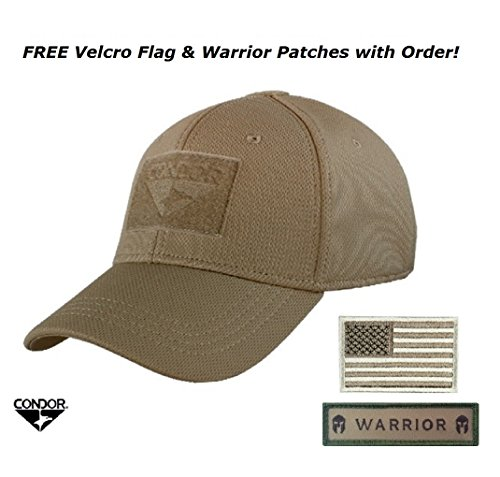 Condor Flex Tactical Cap (Brown) + 2 FREE Stitched Flag Patches (Large/XLarge)