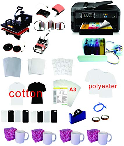 "8in1 15x15 Professional Sublimation Heat Press WF-7710 11""x17"" Printer CISS Ink Material KIT"