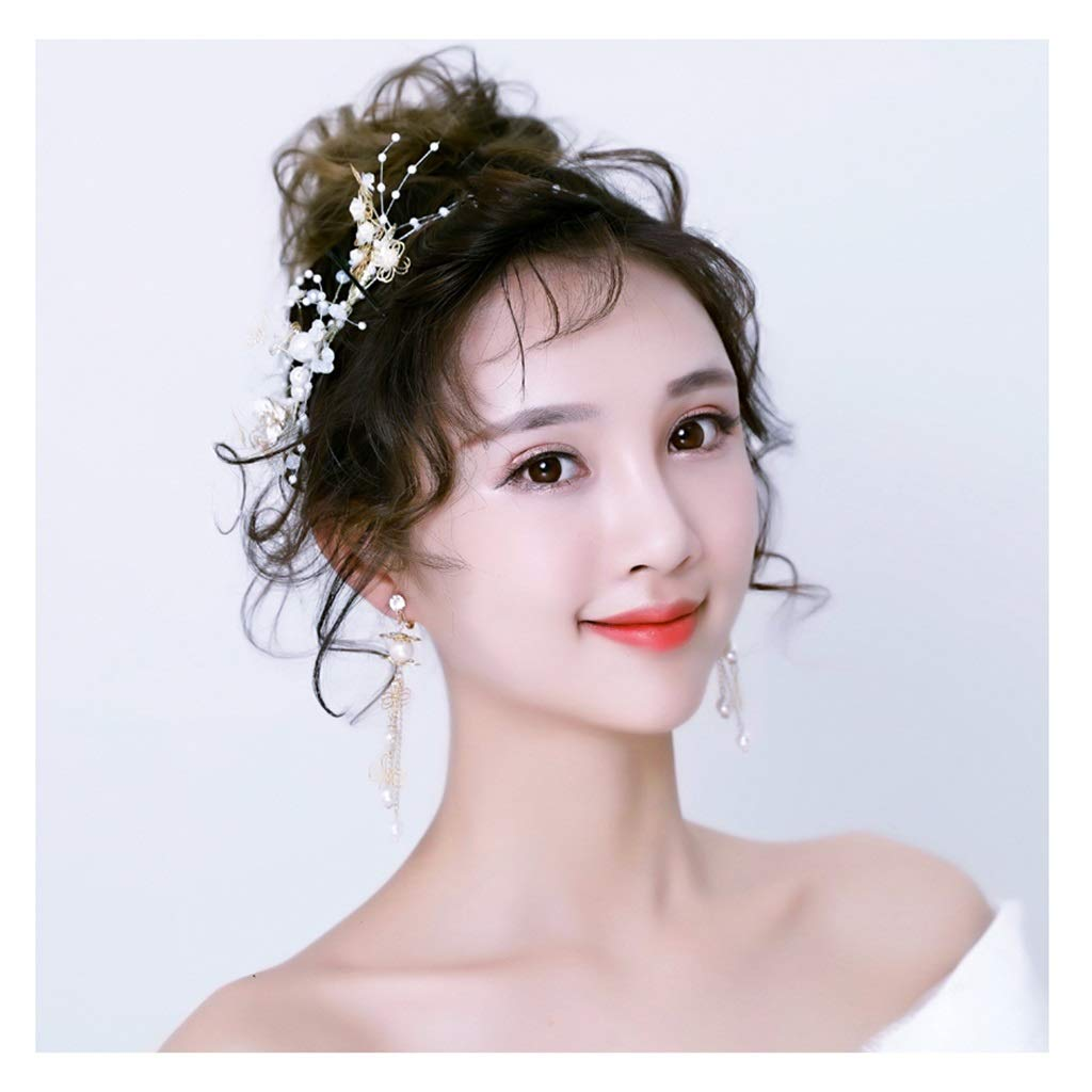 Wreath Flower Headband Wedding Dress Tiara Earrings Set Bride Senxian Fairy Garland Gold Headband
