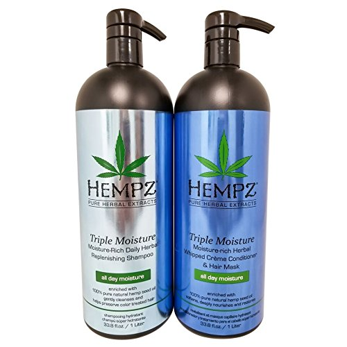 Hempz Pure Herbal Extracts Triple Moisture Herbal Replenishing Shampoo & Conditioner 33.8oz Bundle