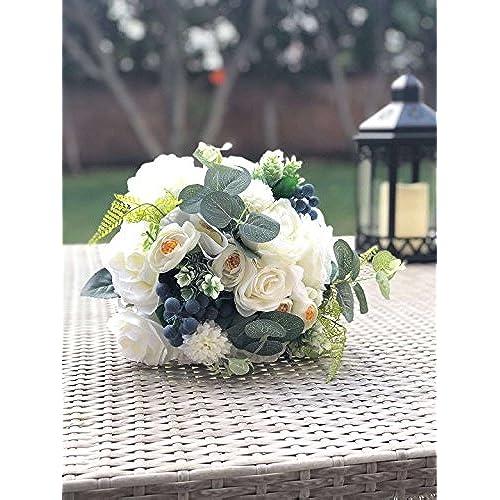 Green and white wedding bouquets amazon abbie home bride bouquets wedding flower bouquet handmade rose rhinestone pearl bridal artifical silk flower with different design 562 mightylinksfo