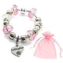 Charm Buddy Girls' Goddaughter Pink Silver Crystal Glass Pandora Style Charm Bracelet With Gift Bag