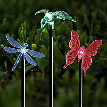 Solar Stake Lights Outdoor Garden Voona 3 Pack Color Chaning LED With Clear Butterfly