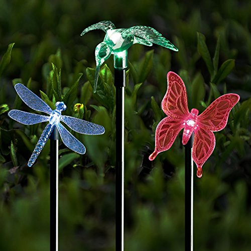 Solar Stake Lights Outdoor Garden Voona 3-Pack Color Chaning LED Lights with Clear Butterfly Dragonfly Hummingbird Stake Mixed for Outdoor Garden Pathway Lawn Yard Decoration (Stake Lights) (Stake Light Solar Outdoor)