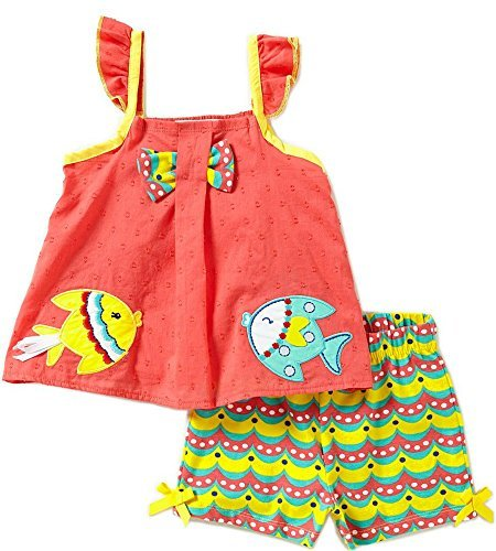 - Rare Editions Clip Dot Fish Appliqued Top and Printed Short Set (24 Months)
