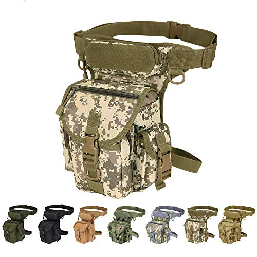 Camouflage Waterproof Shoulder Bag - Injoy Multi-Purpose Tactical Drop Leg Bag Tool Fanny Thigh Pack Leg Rig Military Motorcycle Camera Versipack Utility Pouch, Black/Coyote Tan/Army Green Available (Desert Camouflage)