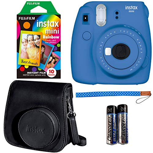 Fujifilm Instax Mini 9 Instant Camera - Cobalt Blue, Fujifilm Instax Rainbow Instant Mini Film (10 Pack), and Fujifilm Instax Groovy Camera Case - Black