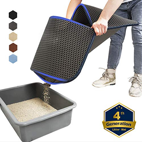 (WePet Cat Litter Mat, Kitty Litter Trapping Mat, Large Size, Honeycomb Double Layer, No Phthalate, Urine Waterproof, Easy Clean, Scatter Control, Catcher Litter Box Pads Rug Carpet 30x25 Inch Grey)