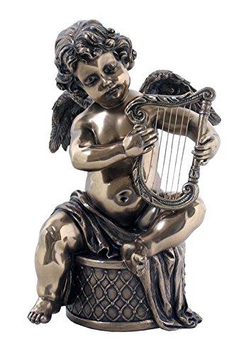 XoticBrands Decorative 7.09 Inch Cherubs-Harp (Bronze) -Genesis Sculpture Figurine, ((H) 7 1/8