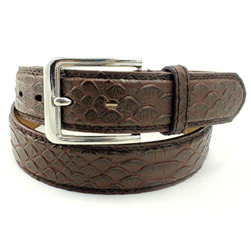 Brown Snake Genuine Belt (Enimay Men's Snake Embossed Patterned Bonded Leather Casual Dress Belt D015 Brown)