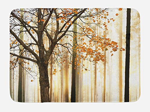 Ambesonne Autumn Bath Mat, Picture of a Lonely Tree with Orange Leaves on an Abstract Woodland Background, Plush Bathroom Decor Mat with Non Slip Backing, 29.5 W X 17.5 L Inches, Orange Brown