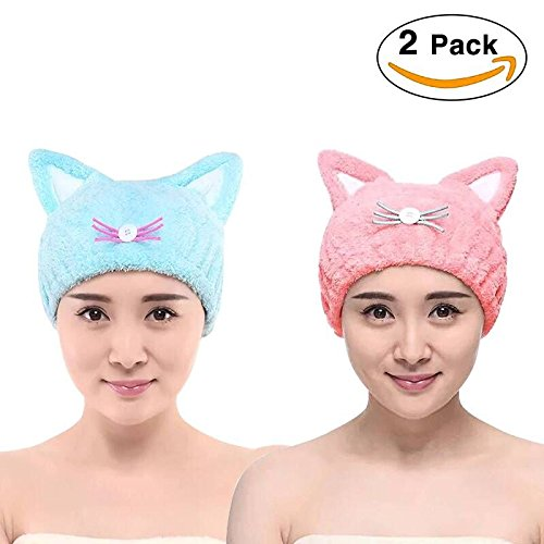 Microfiber Bath Towel Hat Hair Quick Drying Towel Hat Cute Bath Tool Super Soft Absorbent Hair Dry Hat with Premium Water-absorbent Ability for Ladies or Girls 2packs(Blue and Pink) by Si Tong