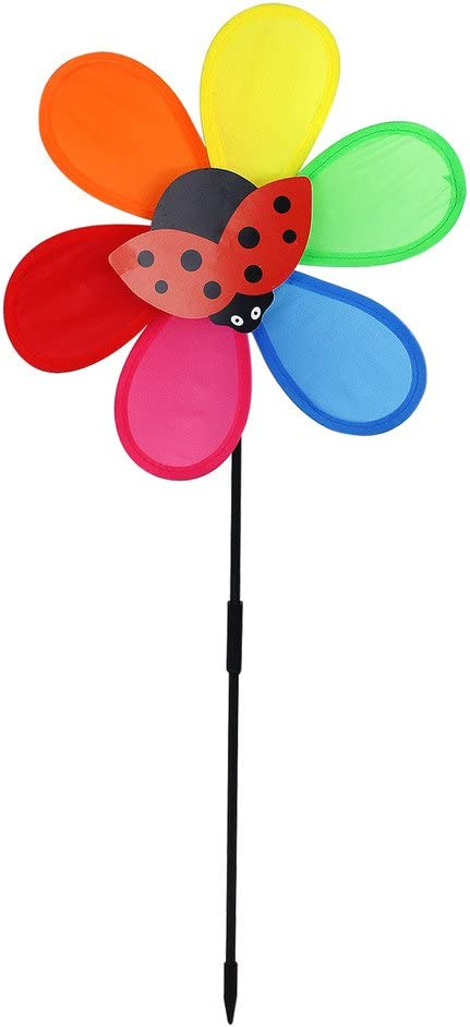 2 x 26cm Windmill Wind Spinners Rainbow Garden Ornament Bee /& Ladybird