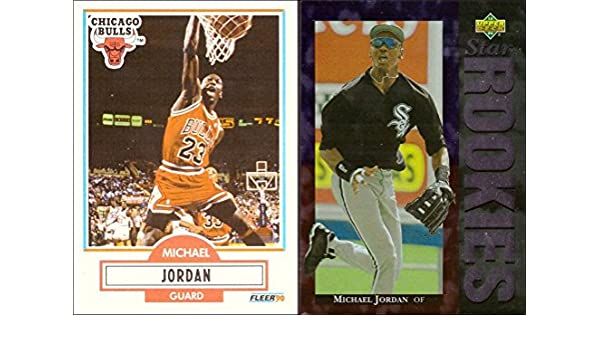 9a34c43b1f3 Amazon.com  Michael Jordan Lot of 2 Trading Cards  1990-91 Fleer Basketball  Card and 1994 Upper Deck Baseball Rookie Card  Collectibles   Fine Art
