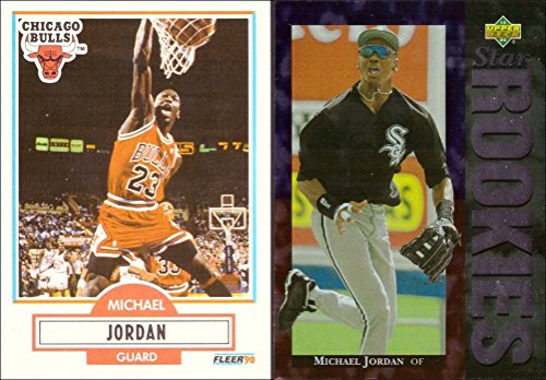 Michael Jordan Lot of 2 Trading Cards: 1990-91 Fleer Basketball Card and 1994 Upper Deck Baseball Rookie Card ()