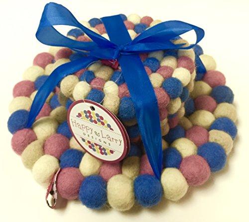 (Happy As Larry Round Felt Ball Trivet (Trivet & Coaster Gift Set, Blue Pink))