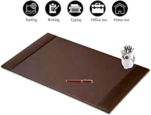 Non Slip Premium Leather Desk Mat Pad Blotter Protector 34 x 20 Inch, Office Desk Laptop Keyboard Mouse Mat Pad with Comfortable Writing Surface Waterproof and Side Rails