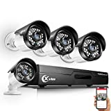 XVIM 720P 4CH Home Security Camera System Outdoor,1080P HDMI CCTV DVR Recorder with 4Pcs 720P Night Vision Indoor Outdoor Weatherproof Bullet Surveillance 1.0MP Cameras(No Hard Drive)