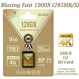 Amplim UHS-II SD Card: Ultra Fast 285MB/s (1900X), V60, U3, Class 10 SDXC Memory Card for 4K, Full HD, 3D, HDR, 360 Video 118 Ultra high Performance SD card: blazing speed 1900x (285MB/s) transfer rate. Twice the read speed of 1000x card. Newest SD Association SD 5. 0 specs V60+ video rating provides 4K continuing shooting (other UHS-II cards without V ratings are last Generation SD 4. 0 cards). top rated UHS-II U3 Class10 Pro extreme Turbo Fast high capacity SD card for latest UHS-II SDXC (SD XC) compatible cameras, accessories, USB-C SD card reader, Microsoft Surface Book 2 and super fast 3D HDR 360 4K DSLR and 3D PROFESSIONAL PHOTOGRAPHER MEMORY CARD: 32, 64 128 and 256 gig UHS-II high capacity cards for DSLR and Mirrorless UHS-II video Cameras (Sony, Fuji, Leica, Nikon, Olympus, Panasonic, Samsung). Sony Alpha A9 a7 a7R Mark III SF card Cyber-shot RX1R II; Fujifilm Fuji X-T1 X-Pro2 X-T2 GFX 50S X-H1 X-E3; Leica SL Type 601 M10; Nikon D850 D500 FX; Olympus OM-D E-M5 II OM-D E-M10 II III PEN-F OM-D E-M1 Mark II; Panasonic Lumix DC-G9 GH5S GH5 GH4; Samsung NX1; Black magic URSA; Support all UHS-II devices BACKWARD COMPATIBLE with UHS-I Cameras (Note: Speed of UHS-II card will be limited by the UHS-I SD slot): Sony Cyber-shot DSC W800 W830 DSCH300 Alpha a7R II DSC-RX10 IV a6500 a9 a6300 a99 II; Canon PowerShot SX720 SX730 SX530 HS ELPH 180 190 IS G7 X 5D Mark IV III II EOS 80D 5DS R Rebel T7i T6 T5 Kiss X70 X9 X9i 1300D 1200D M100 SL2 200D M56D M10 M677D 9000D 800D; Nikon Coolpix L32 L340 B500 D3400 D5300 D3300 D750 D7200 D7500 D5600