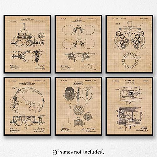 Original Optometry Patent Art Poster Prints, Set of 6 (8x10) Unframed Photos, Great Wall Art Decor Gifts Under 20 for Home, Office, Garage, Man Cave, Shop, Studio, Student, Teacher, Eye Doctor, Fan