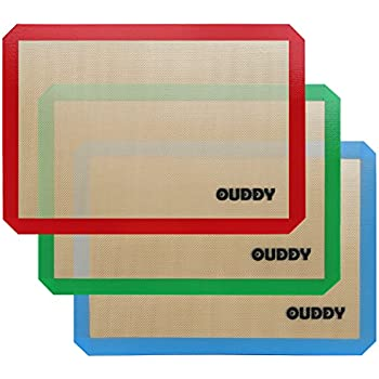 "Silicone Baking Mat - Set of 3 Half Sheet (Thick & Large 16.5"" x 11.5"") - Reusable Non Stick Silicone Baking Liner, Silicone Cookie Cooking Sheet Mat by Ouddy"